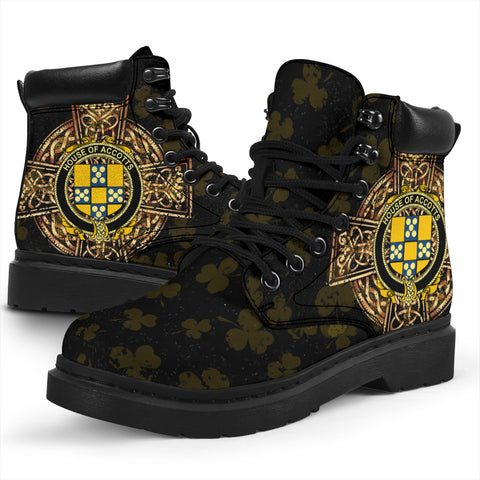 Accotts Family Crest Shamrock Gold Cross 6-inch Irish All Season Boots K6