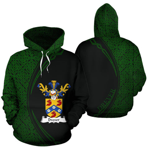 Drever or Driver Family Crest Hoodie Irish Circle Style Hj4