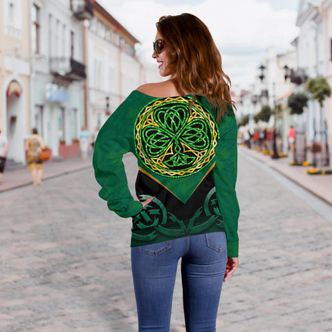 Irish Celtic Knot Off Shoulder Sweater Shamrock K4