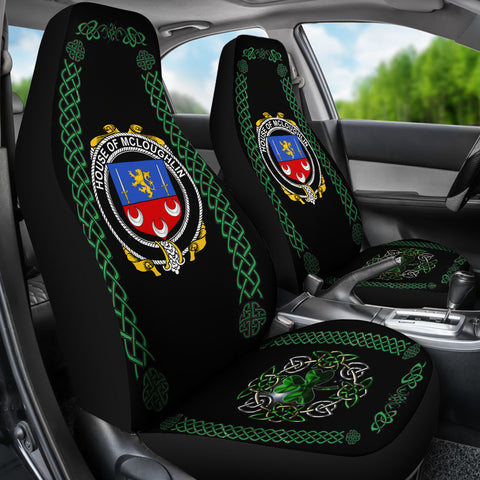 Image of McLoughlin or Loughlin Ireland Shamrock Celtic Irish Surname Car Seat Covers TH7