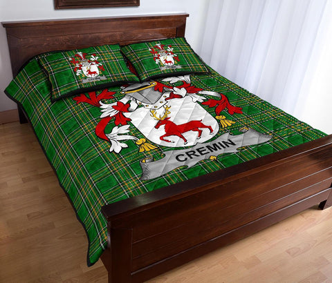 Cremin or O'Cremin Ireland Quilt Bed Set Irish National Tartan | Over 1400 Crests | Home Set | Bedding Set