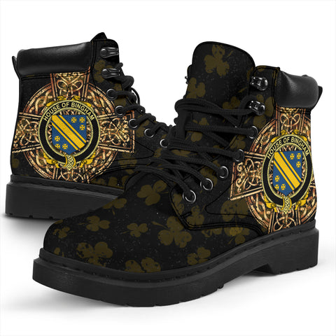 Image of Bingham Family Crest Shamrock Gold Cross 6-inch Irish All Season Boots K6