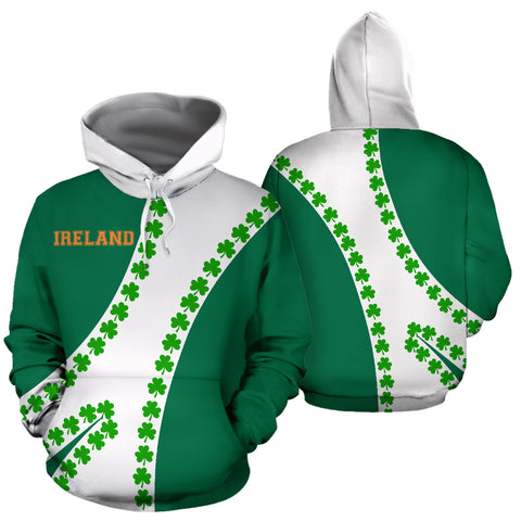 Image of Ireland Hoodie Patterns Shamrock - Sports Style