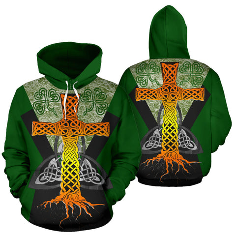 Irish Celtic Cross With Knot Symbol Hoodie - Green Color - For Man And Woman