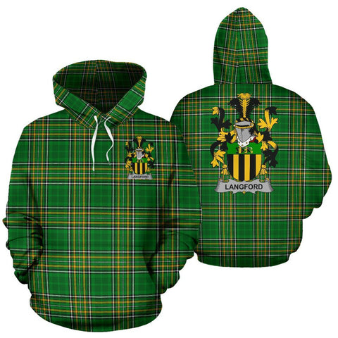 Langford Ireland Hoodie Irish National Tartan (Pullover) | Women & Men | Over 1400 Crests