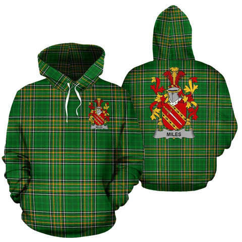 Miles or Moyles Ireland Hoodie Irish National Tartan (Pullover) | Women & Men | Over 1400 Crests