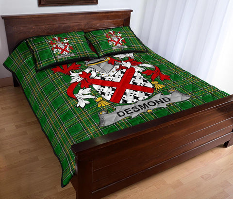 Image of Desmond Ireland Quilt Bed Set Irish National Tartan | Over 1400 Crests | Home Set | Bedding Set