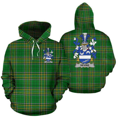 Nevins or McNevins Ireland Hoodie Irish National Tartan (Pullover) | Women & Men | Over 1400 Crests