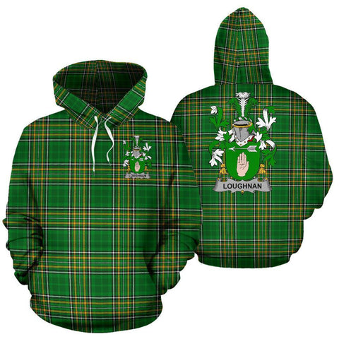 Loughnan or O'Loughnan Ireland Hoodie Irish National Tartan (Pullover) | Women & Men | Over 1400 Crests