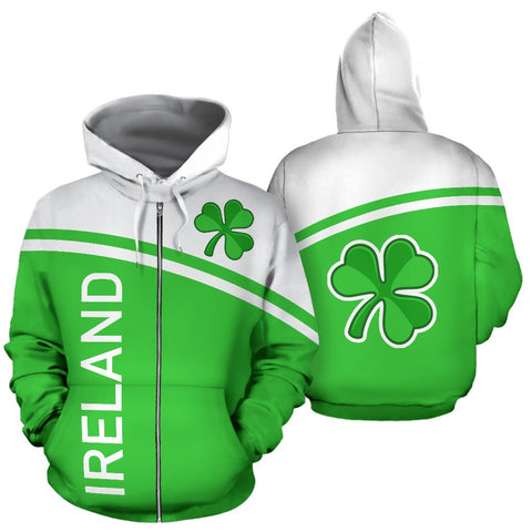 Image of Ireland All over Zip-Up Hoodie - Curve Version