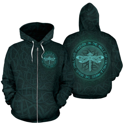 Celtic All Over Zip-Up Hoodie - Dragon Fly