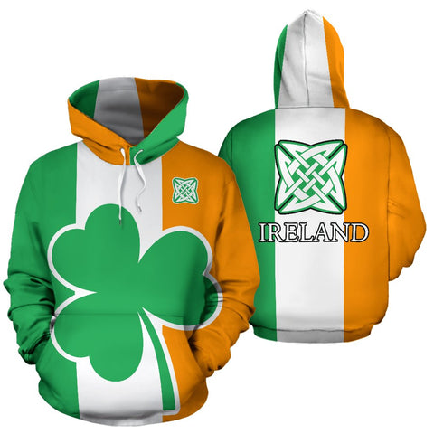 Ireland Flag Shamrock All Over Print Hoodie
