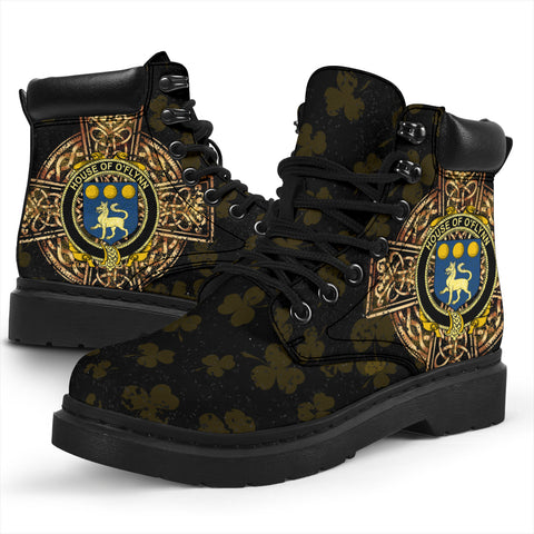Flynn or O'Flynn Family Crest Shamrock Gold Cross 6-inch Irish All Season Boots K6