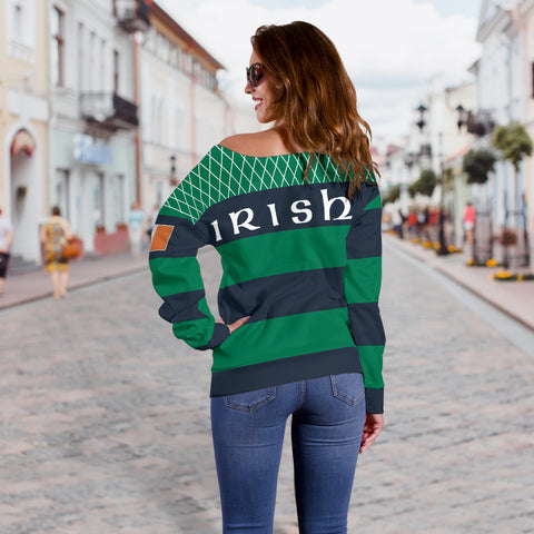 Rugby Off Shoulder Sweater - Croker Green and Navy Traditional - Green - Back - For Women