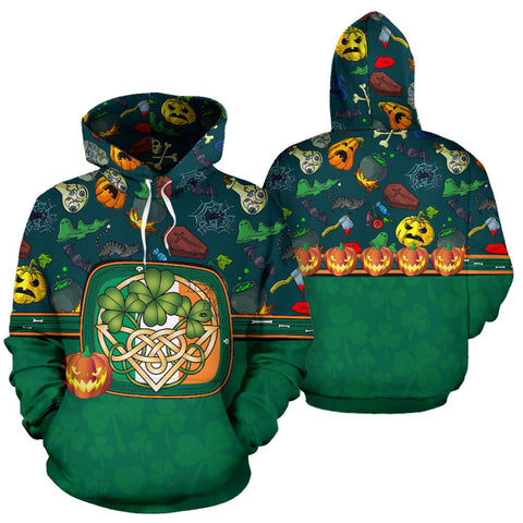Ireland Halloween Hoodie Celtic Shamrock front and back