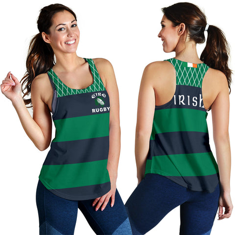 Rugby Womens Racerback Tank - Croker Green and Navy Traditional - Green - Front and Back - For Women