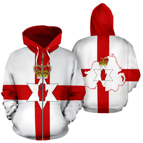 Northern Ireland Zip Up Hoodie Flag front and back