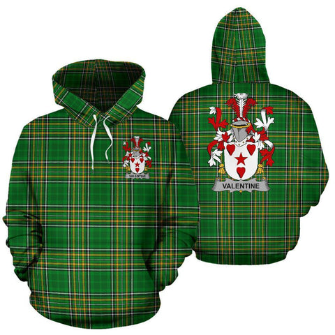 Valentine Ireland Hoodie Irish National Tartan (Pullover) | Women & Men | Over 1400 Crests