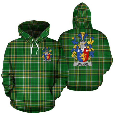 English Ireland Hoodie Irish National Tartan (Pullover) | Women & Men | Over 1400 Crests