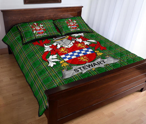 Stewart Ireland Quilt Bed Set Irish National Tartan | Over 1400 Crests | Home Set | Bedding Set