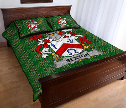 Image of Sexton Ireland Quilt Bed Set Irish National Tartan | Over 1400 Crests | Home Set | Bedding Set