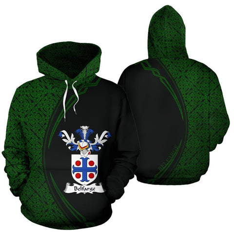 Belfarge or Belfrage Family Crest Hoodie Irish Circle Style Hj4