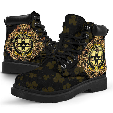 Wellesley Family Crest Shamrock Gold Cross 6-inch Irish All Season Boots K6