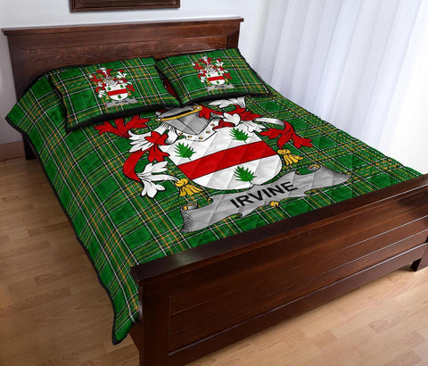 Irvine Ireland Quilt Bed Set Irish National Tartan | Over 1400 Crests | Home Set | Bedding Set