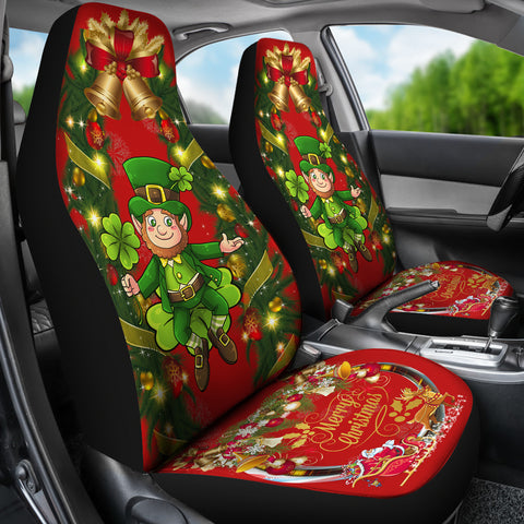 Image of Merry Christmas St. Patrick Shamrock Car Seat Covers ( Set Of 2 )