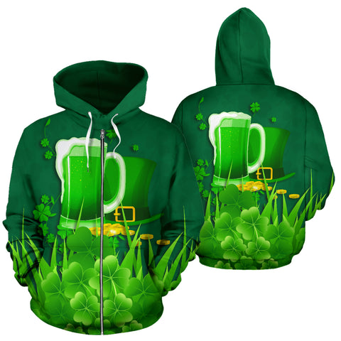 Ireland St Patrick's Day Zip Up Hoodie, Irish Beer Shamrock Zipper Hoodie Green front and back - 1st Ireland