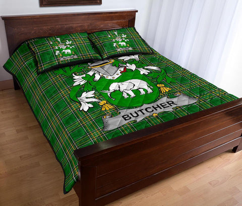 Butcher Ireland Quilt Bed Set Irish National Tartan | Over 1400 Crests | Home Set | Bedding Set