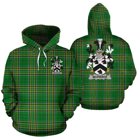 McPierce or Pierce Ireland Hoodie Irish National Tartan (Pullover) | Women & Men | Over 1400 Crests