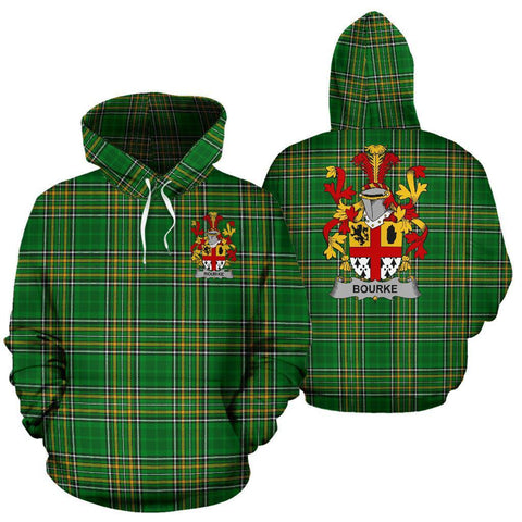 Bourke Ireland Hoodie Irish National Tartan (Pullover) | Women & Men | Over 1400 Crests
