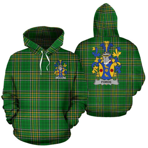Image of Forde or Consnave Ireland Hoodie Irish National Tartan (Pullover) | Women & Men | Over 1400 Crests