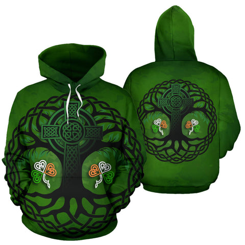 Celtic Cross Tree of Life Hoodie - Ireland Shamrock front and back