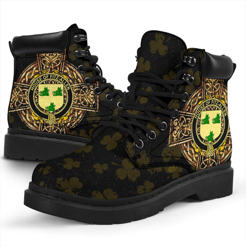 Fitz-Allen Family Crest Shamrock Gold Cross 6-inch Irish All Season Boots K6