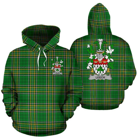 Leech Ireland Hoodie Irish National Tartan (Pullover) | Women & Men | Over 1400 Crests
