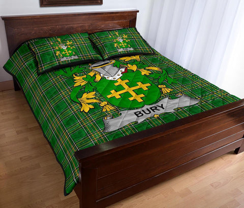 Image of Bury or Berry Ireland Quilt Bed Set Irish National Tartan | Over 1400 Crests | Home Set | Bedding Set