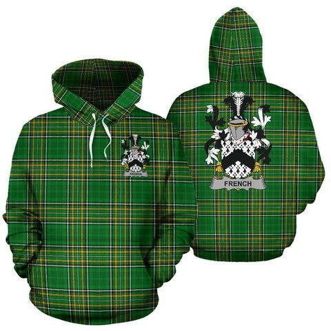French Ireland Hoodie Irish National Tartan (Pullover) | Women & Men | Over 1400 Crests
