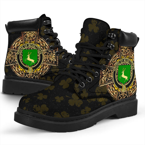 McGettigan or Gethin Family Crest Shamrock Gold Cross 6-inch Irish All Season Boots K6