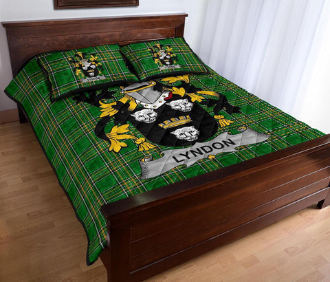 Lyndon or Gindon Ireland Quilt Bed Set Irish National Tartan | Over 1400 Crests | Home Set | Bedding Set