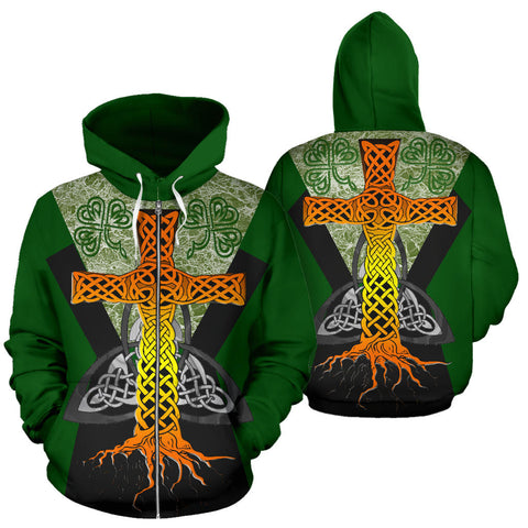Irish Celtic Cross With Knot Symbol Zip Hoodie - Green Color - For Man And Woman