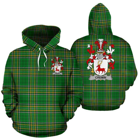 Cremin or O'Cremin Ireland Hoodie Irish National Tartan (Pullover) | Women & Men | Over 1400 Crests