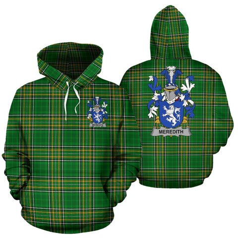 Meredith Ireland Hoodie Irish National Tartan (Pullover) | Women & Men | Over 1400 Crests