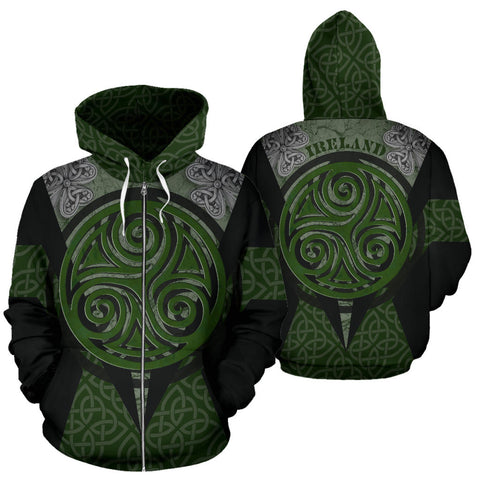 Irish Celtic Spiral Knot Zip Hoodie - Black Color - For Man And Woman