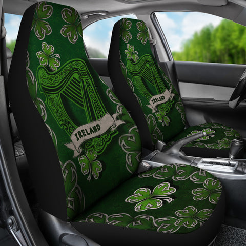 Image of Irish Harp Car Seat Covers - Dark Green Color 3