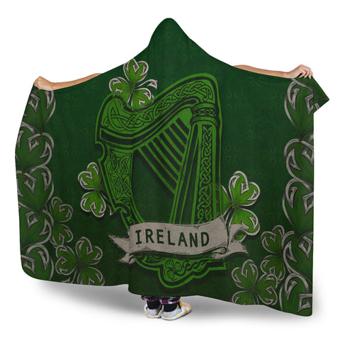 Irish Harp With Shamrock Hooded Blanket - Dark Green Color 3