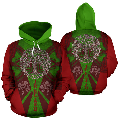 Irish Royal Celtic Tree Hoodie - Red Color - For Man And Woman