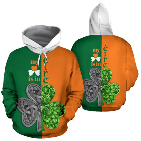 My Heart Is In Ireland Hoodie - Green And Orange Color - For Man And Woman