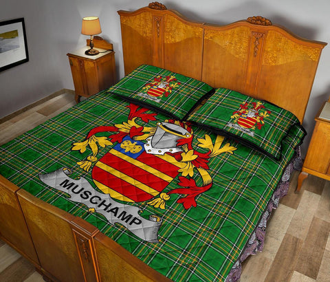 Muschamp Ireland Quilt Bed Set Irish National Tartan | Over 1400 Crests | Home Set | Bedding Set